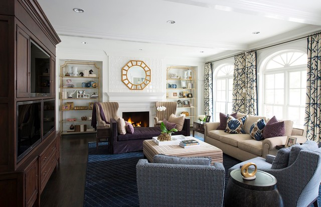 Navy Area Rug Living Room Transitional with Beige Couch Crown Molding