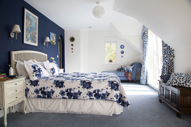 Navy Blue Duvet Cover Bedroom Traditional with Blue and White Blue
