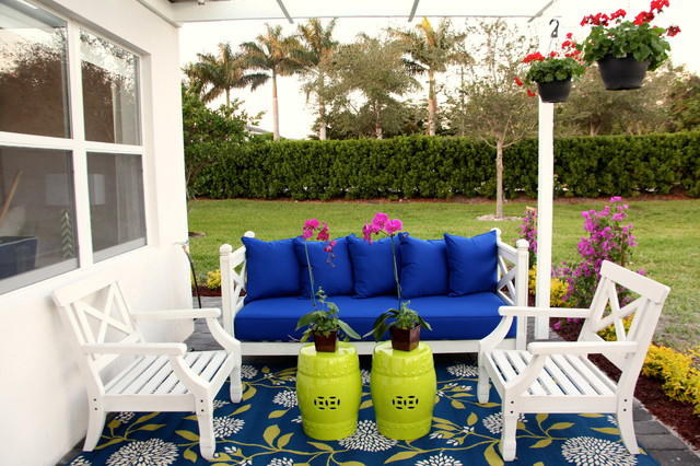 Navy Blue Duvet Cover Patio Beach with Ceramic Garden Stools Chartreuse1