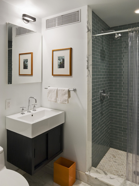 Nemo Tile Bathroom Contemporary with Block Sink Clear Shower