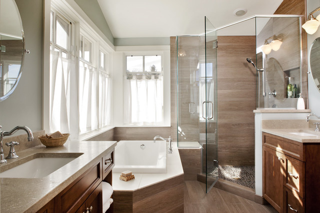 Neo Angle Shower Bathroom Transitional with Double Sinks Glass Enclosure