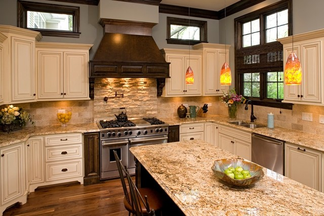 New Venetian Gold Granite Kitchen Traditional with Blue Wall Breakfast Bar