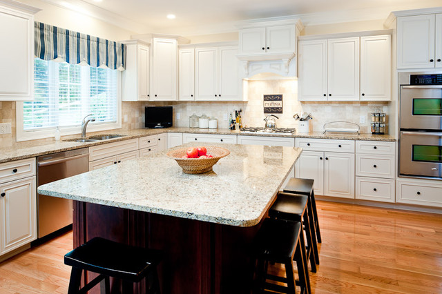 New Venetian Gold Granite Kitchen Traditional with Countertops Cream Cabinets Granite
