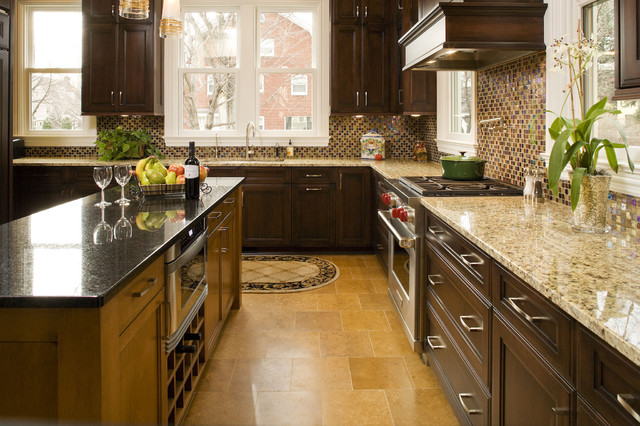 New Venetian Gold Granite Kitchen Traditional with Kitchen Island Mosaic Tile