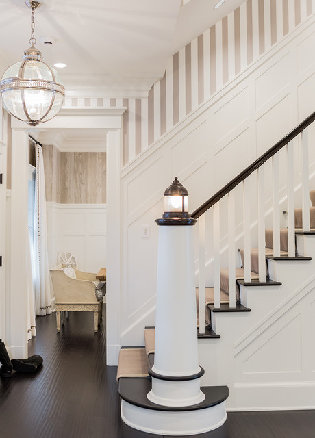 Newel Post Staircase Beach with Banister Pendant Light Stair