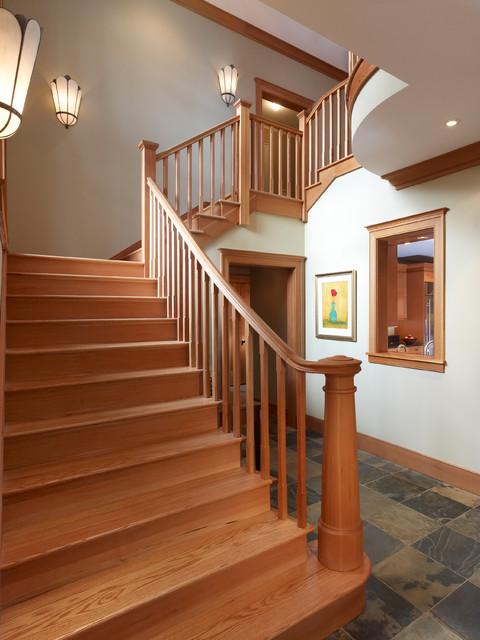 Newel Post Staircase Craftsman with Artwork Balusters Interior Window