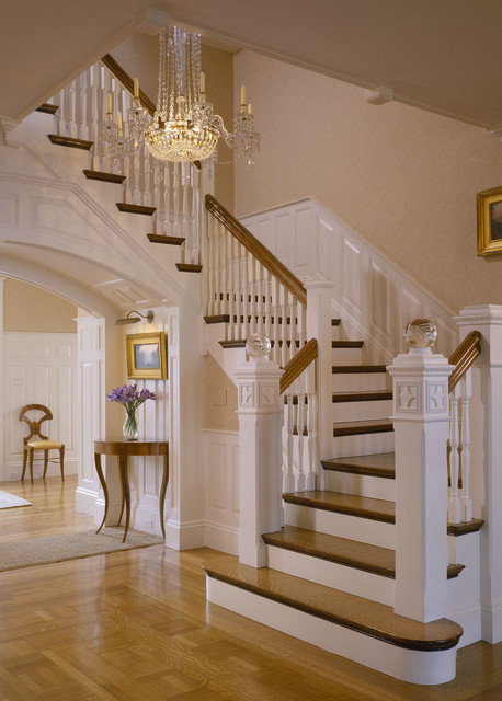 Newel Post Staircase Traditional with Carved Wood Chandelier Crystal