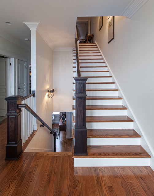 Newel Post Staircase Traditional with Hall Hardwood Stairs Traditional