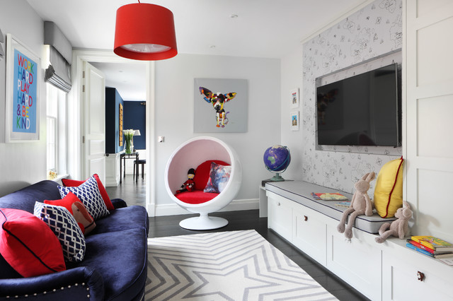 Non Slip Rug Pad Kids Transitional with Arc Lamp Bubble Chair