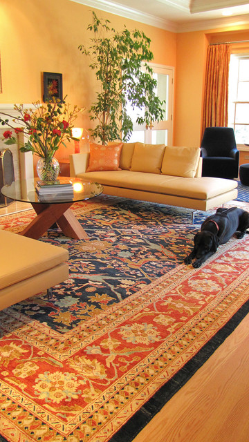 non slip rug pad Living Room Contemporary with autumn chaise dog modern