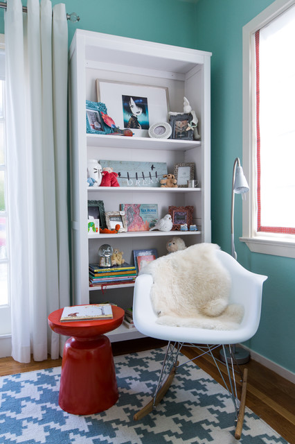 nursery rocking chair Kids Modern with baseboard blue and white