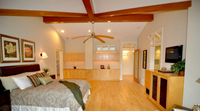 Oak Stair Treads Bedroom Contemporary with Beams Deck Floating Stair