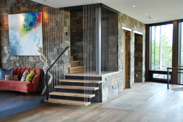 Oak Stair Treads Staircase Contemporary with Brandner Design Cable Railing