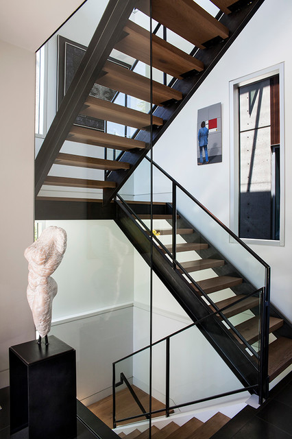 oak stair treads Staircase Contemporary with aluminum frame aluminum frame