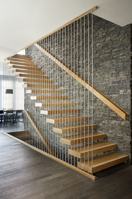 oak stair treads Staircase Contemporary with custom staircase custom-made floating