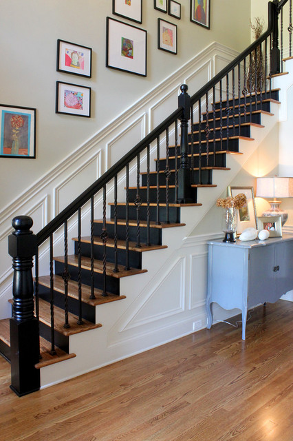 oak stair treads Staircase Traditional with framed art newel post