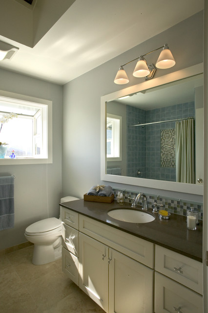 Oceanside Glass Tile Bathroom Contemporary with Atlas Bamboo Knobs Beach