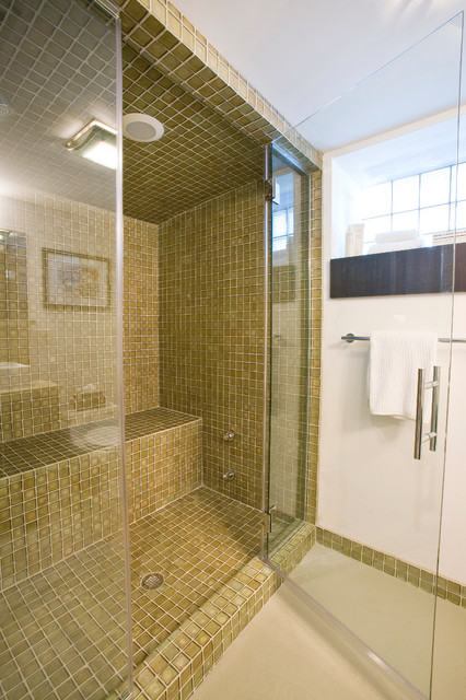 Oceanside Glass Tile Bathroom Contemporary with Basement Renovation Bathroom Built