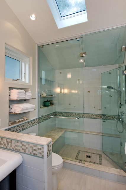 Oceanside Glass Tile Bathroom Contemporary with Accent Tile Award Winning Contractor