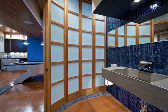 Oceanside Glass Tile Bathroom Modern with Basement Bathroom Blue Blue