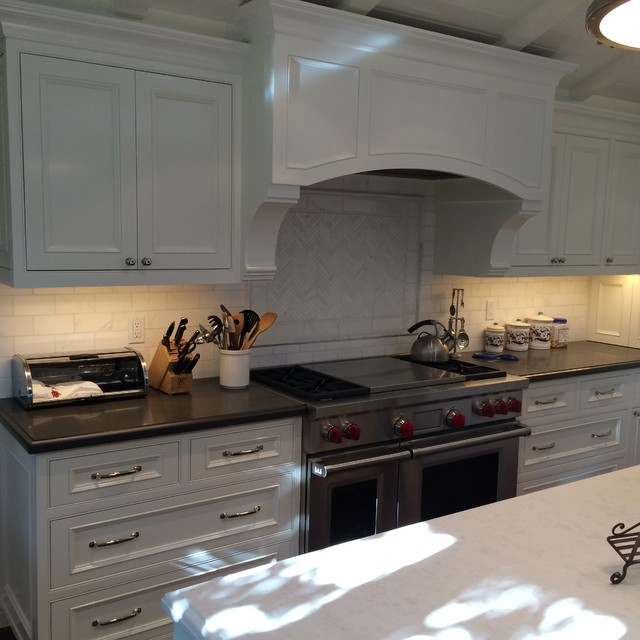 Oceanside Glass Tile Kitchen Contemporary with Contemporarty Kitchen Kitchen Hood