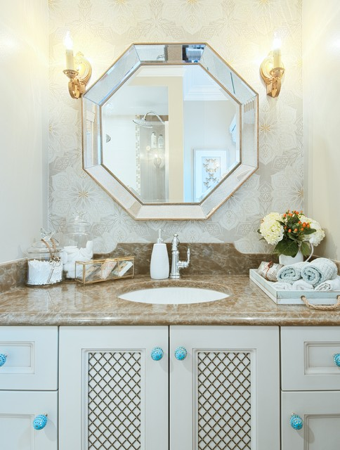 octagon mirror Bathroom Traditional with accent wall blue pulls