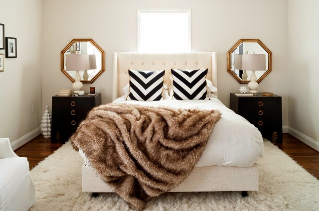 Octagon Mirror Bedroom Transitional with Black and White Chevron