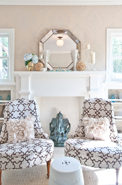 Octagon Mirror Living Room Traditional with Damask Wallpaper Dwell Studio