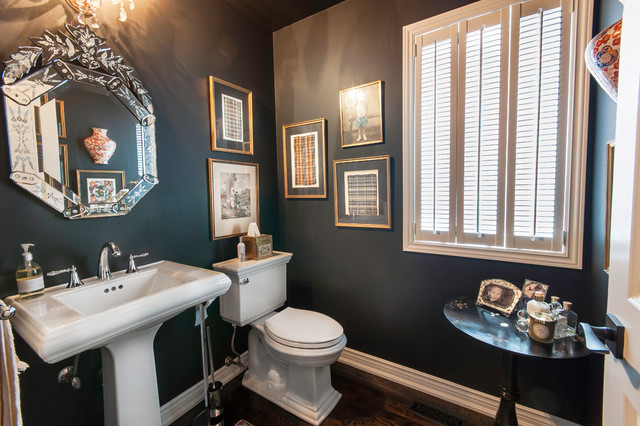 Octagon Mirror Powder Room Traditional with Black Side Table Dark