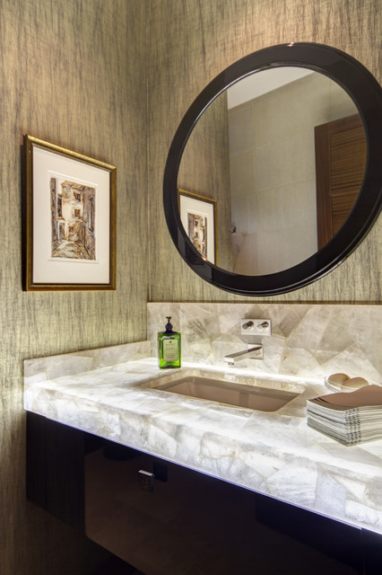Onyx Countertops Bathroom Contemporary with Backlit Countertop Floating Vanity