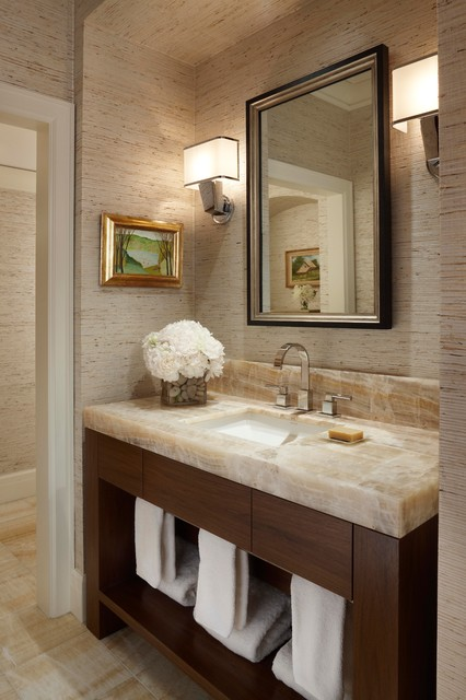 Onyx Countertops Bathroom Contemporary with Floral Arrangement Neutral Colors