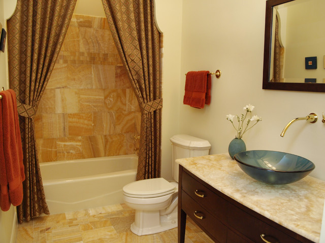 Onyx Countertops Bathroom Traditional with Curtains Drapes Earth Tone