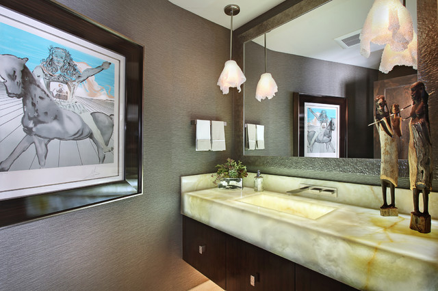 onyx countertops Powder Room Contemporary with bathroom mirror floating vanity