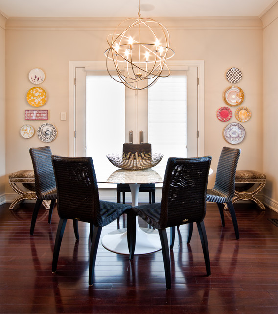 Orb Chandelier Dining Room Contemporary with Animal Print Breakfast Nook