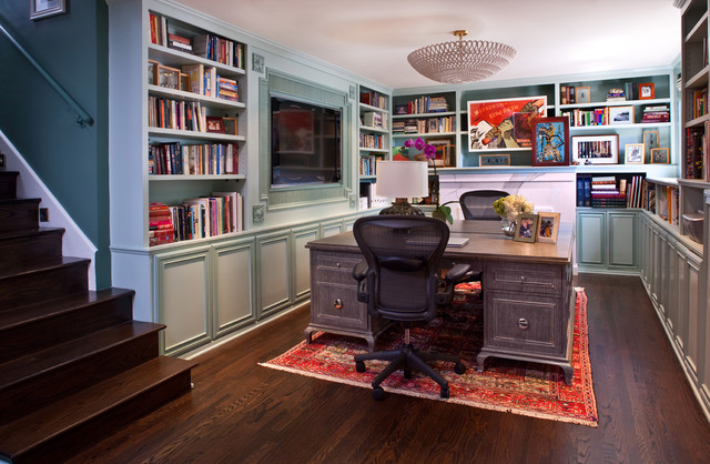 Orb Chandelier Home Office Transitional with Area Rug Blue Walls