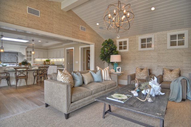 Orb Chandelier Living Room Beach with Area Rug Beadboard Ceiling