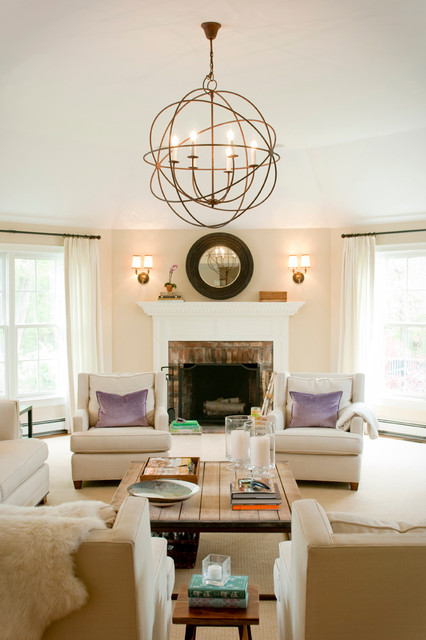 Orb Chandelier Living Room Transitional with Double Sconces Hurricane Lamps