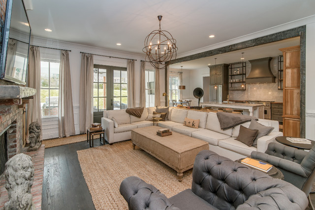Orb Chandelier Living Room Transitional with Beige Sofa Brick Fireplace