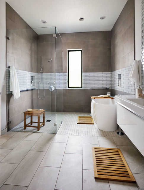 Oregon Tile and Marble Bathroom Contemporary with Bath Caddy Floating Vanity