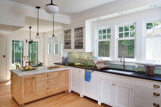 Oregon Tile and Marble Kitchen Victorian with Arts and Crafts Window