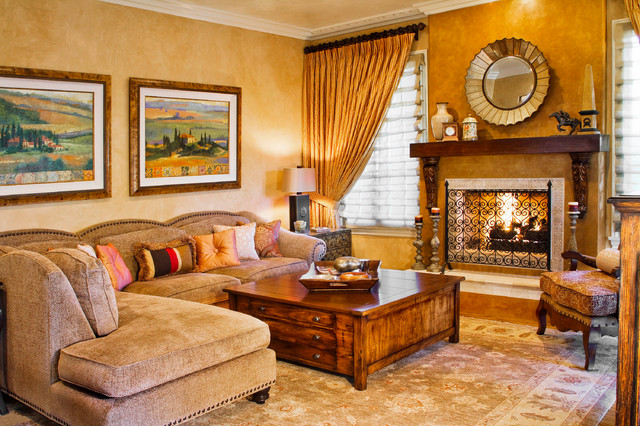 Oriental Weavers Living Room Mediterranean with Fireplace Gold Gold Drapes
