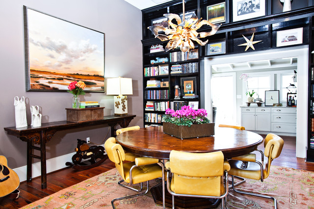 Oushak Rugs Dining Room Eclectic with Black Bookcase Built in Bookcase