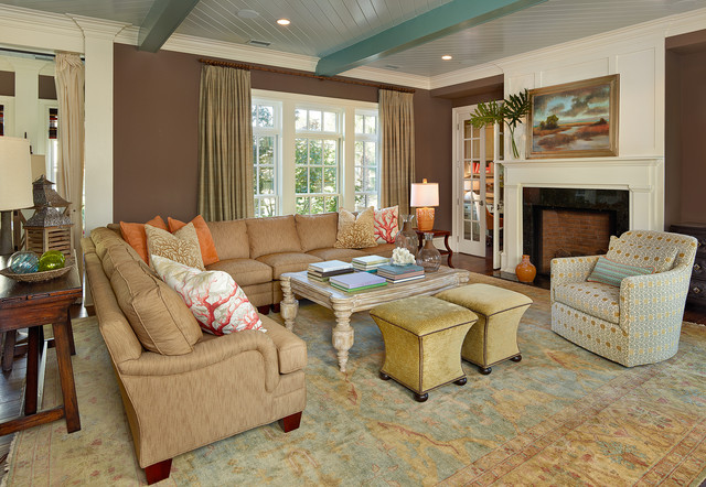 Oushak Rugs Living Room Beach with Beamed Ceiling Beige Column