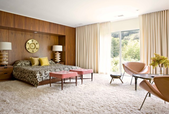 Oversized Ottoman Bedroom Midcentury with Beige Curtains Built In