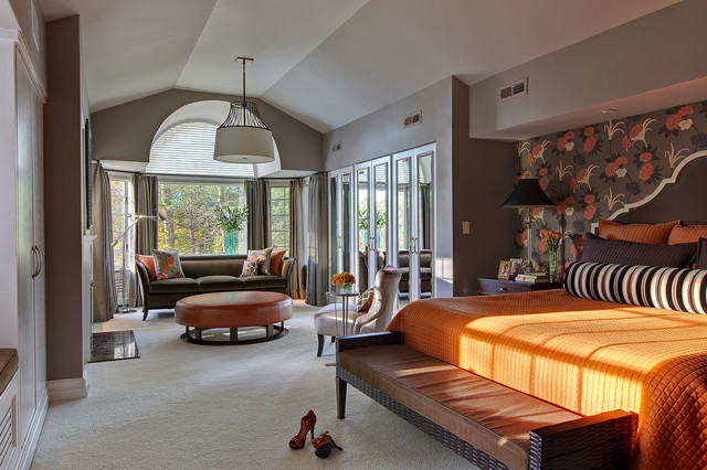 Oversized Ottoman Bedroom Transitional with Accent Wall Bay Window