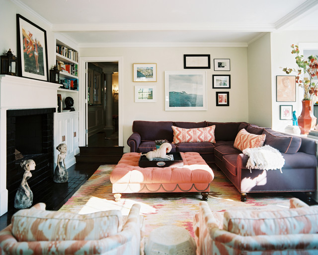 Oversized Ottoman Family Room Eclectic with Art Coral Eclectic Feminine