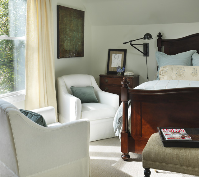 Overstuffed Chair Bedroom Traditional with Bedside Table Blue And