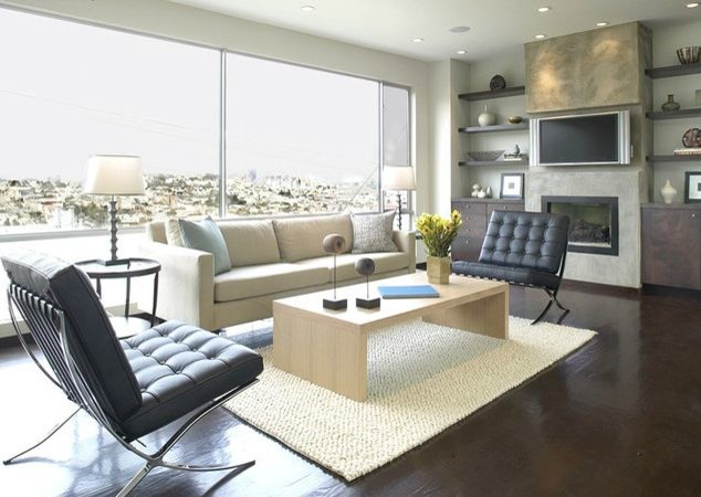 Overstuffed Chair Living Room Contemporary with Barcelona Chair Barcelona Chair