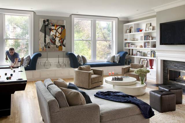 Overstuffed Chair Living Room Contemporary with Area Rug Blue And