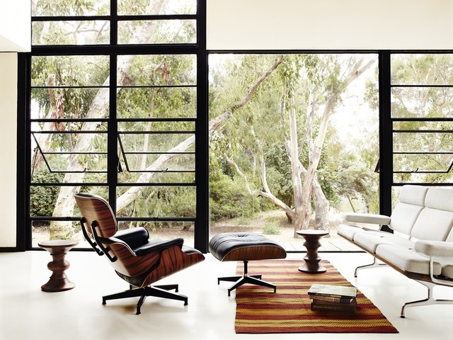 overstuffed chair Living Room Midcentury with charles eames chair eames